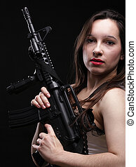 Girl holding Rifle on black background - Sexy women - Girl...