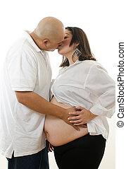 Cute latin american pregrant couple