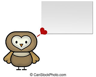 Owl Cartoon Love - Owl Cartoon with Love bubble and a blank...