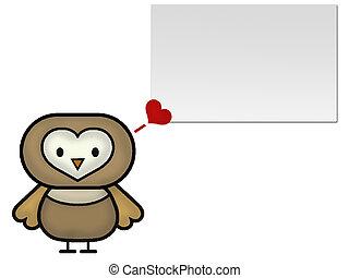 Owl Cartoon Love - Owl Cartoon with Love bubble and a blank...