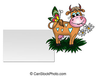 Cartoon Cow and Butterfly and a blank sign board