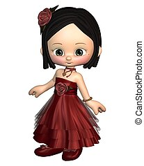 Cute Toon Valentine Girl - Cute toon Valentines Day girl in...