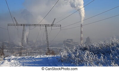 Power Station 17 - Coal fired power station and power line