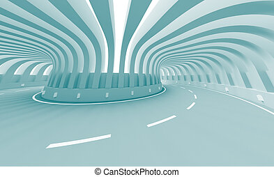 Road Construction - 3d Illustration of Blue Abstract Road...