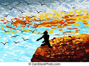 Liberdade - Homem numa montanha e passaros a voar no ceu