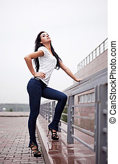 sexy woman - sexy porud young brunette woman wearing jeans...