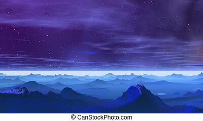 Falling star - The bright star flies against a mountain...