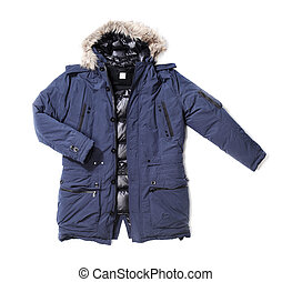 Parka - Men's blue down lined winter parka isolated on white...