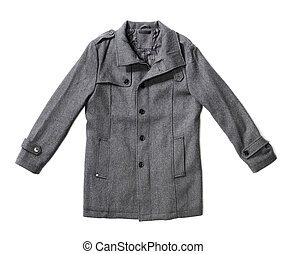 Winter Coat - Men's grey wool winter overcoat isolated on...