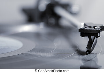 Vinyl record - Stylus on a vinyl LP record.