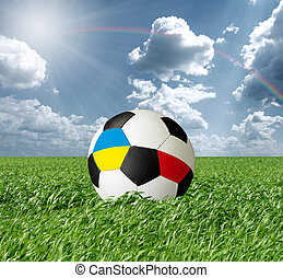 Soccer ball With Ukraine and Poland Flags - Soccer ball,...