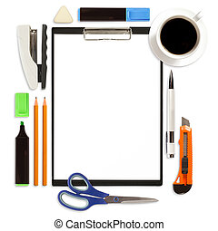 Clipboard With Office Supply Isolated - Business concept,...