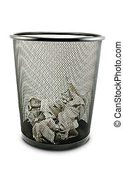 Garbage bin - Garbage bin with paper waste isolated on white...