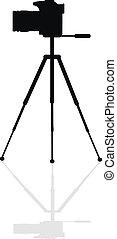 Cameraicon - Silhouette SLR camera on a tripod