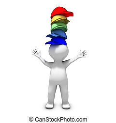 el, persona, Llevando, Muchos, sombreros, tiene, terreno,...