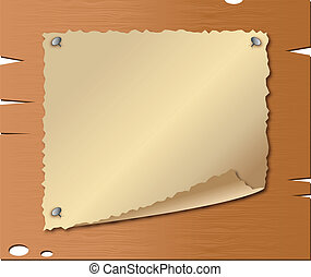 Old paper on wooden boards - Vector of old paper on wooden...