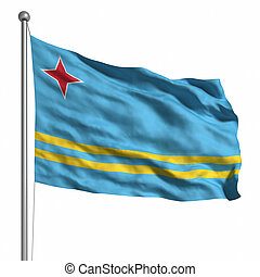 Flag of Aruba. Rendered with fabric texture (visible at...