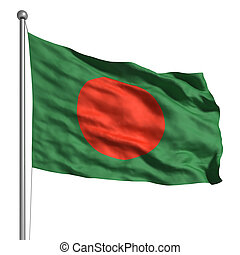 Flag of Bangladesh. Rendered with fabric texture (visible at...