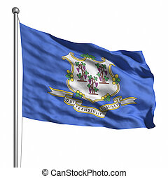 Flag of Connecticut. Rendered with fabric texture (visible...