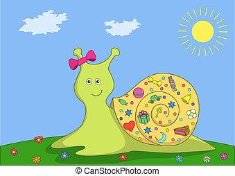 Snail on a green meadow