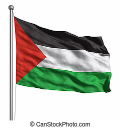 Flag of Palestine. Rendered with fabric texture (visible at...