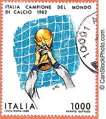 italiano, poste, estampilla, hacia, 1982, Celebrar, ganando,...