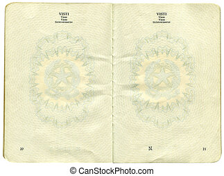 Old Italian passport. Page for visa marks