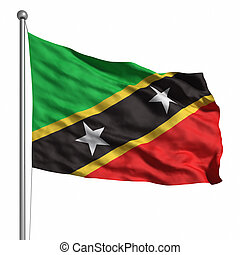 Flag of Saint Kitts and Nevis. Rendered with fabric texture...
