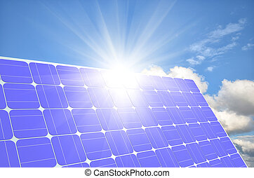 solar panels generate electricity on a clear sunny sky...