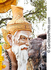 Ascetic statue at Wat Samarn, Chachoengsao,Thailand