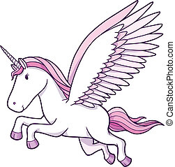 Unicorn Pegasus Vector Illustration