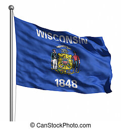 Flag of Wisconsin Rendered with fabric texture visible at...