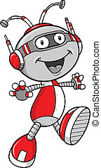 Robot Vector Illustration - Happy Robot Vector Illustration...