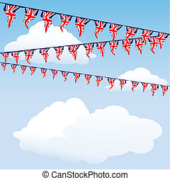 Union Jack bunting on cloud background with space for your...