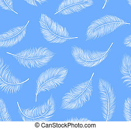 White feathers - Seamless pattern with white feathers