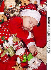 Christmas newborn baby - View of a newborn baby on a...