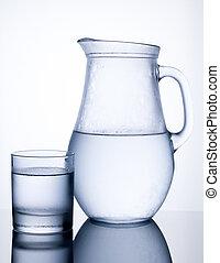 jarro, gelado, água, vidro