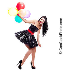 woman with balloons - portrait of a beautiful young woman...