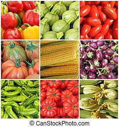 colagem, inteiro, diferente, legumes, agricultor, mercado,...