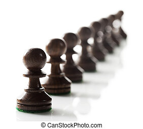 pawns chess pieces ready to do battle.