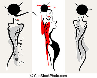 Beautiful women silhouette - Beautiful asian women...