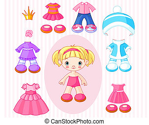 Girl with clothes - Paper Doll with different clothes