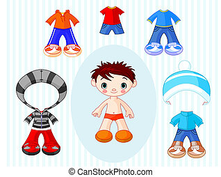 Boy with clothes - Paper Doll boy with different clothes