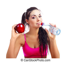 girl drinking water - beautiful young sporty woman drinking...