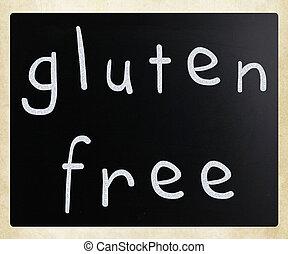Gluten, livre, dieta, conceito, -, Manuscrito, branca, Giz,...