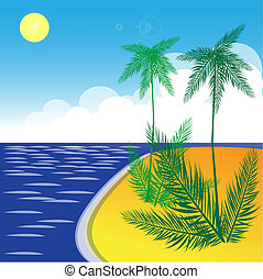 Tropical landscape with beach, sea and palm trees