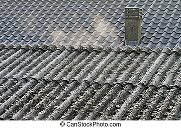 Asbestos roof eternit - Evaporation on Eternit roof covering...