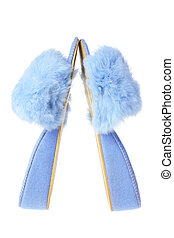 Lady's Bedroom Slippers on White Background