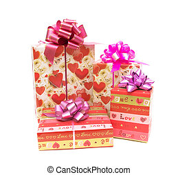 Holiday gift boxes on white background