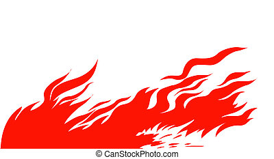 silhouette red fire on white background